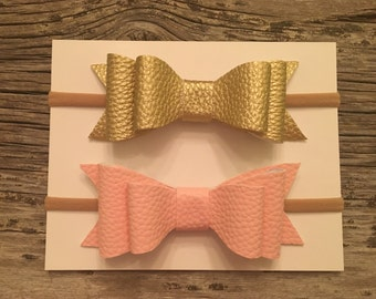 "4"" double layer faux leather bow on thin nylon headband - headband - headband bow - bow - leather bow"
