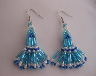 Beaded Light Blue Dangle Earrings Native American