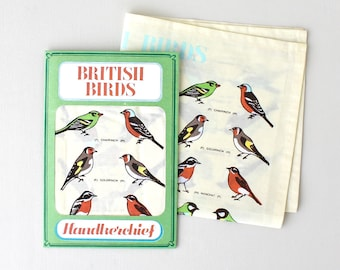 Handkerchief-British Birds-Bird design Handkerchief-Birdspotter Gift-Gift Gardener-Gift for Grandad-Printed Handkerchief
