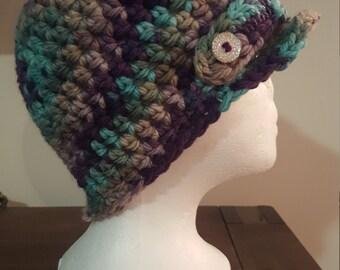 Crochet newsboy beanie hat