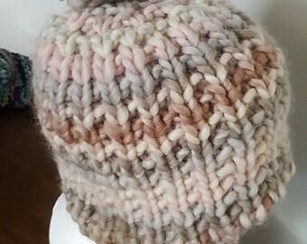 Super chunky knit beanie with pom pom