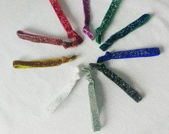 Glitter hair elastics, hair ties, glitter bobbles, girls gift, stocking filler, party bag filler