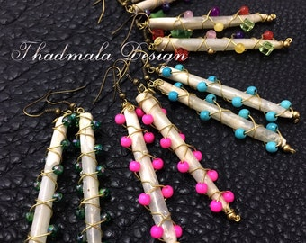 boho quills and beads earring