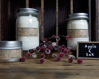 Soy Candle - Apple & Oak - Holiday and Winter Scents