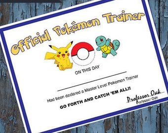 pokemon, pokemon certificate, Pokémon Trainer Certificate,Pokémon Party Favors,Pokémon Birthday,Pokémon go, pokemon party supplies, Pikachu