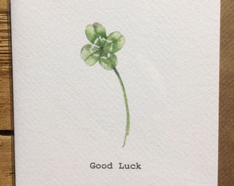 Four Leaf Clover Card taken from an Original Watercolour / Notelets / Good Luck Cards / Blank Cards