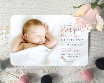 Digital Birth Announcement Card, Custom Birth Announcement, Baby Photo Card, Birth Thank you Card, Girl's Birth Announcement