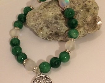 Mystic Aura Quartz and Malachite Green Stone Bead Bracelet