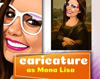 I will draw your caricature as Mona Lisa character(avatar, caricature,cartoon/portrait, Custom Caricature, caricature caricature,caricature)
