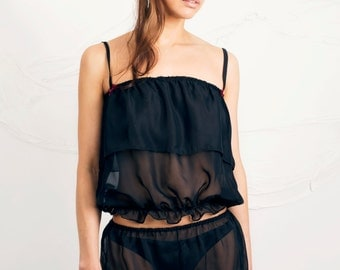 Black Chiffon Top and Shorts Nightwear/ Sleepwear two piece set available in size 8-10