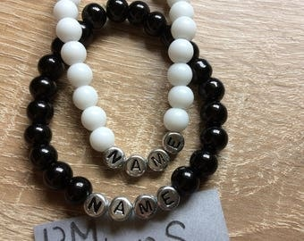Bracelet name beads black white silver personalized name beads black white silver personalized jewelry letters letter bracelet