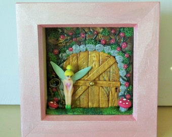miniature fairy theme, fairy door, shadow box fairy