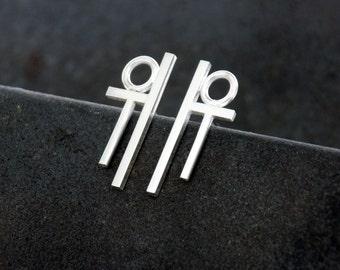 Geometric Sterling Silver Earrings by Navillus Metal Works SSE-14