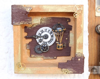 Steampunk Airship 3 gold wallart balloon homedecoration