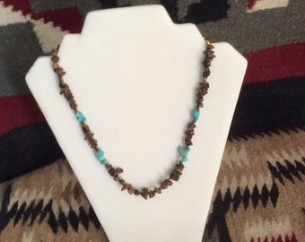 Tiger Eye chips, Turquiose Nugget Necklace