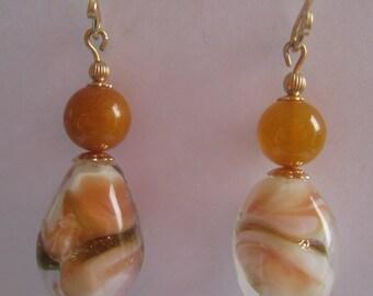 Vintage Japanese Art Glass Beads 1940s, Amber beads, 14k GF beads, 14k GF handmade ear wires