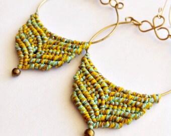 macrame earrings, macrame hoops, macrame creolen,gypsie earrings,tribal earrings,Hippie,Yoga Jewelry,Gift ideas,Gift for her,Macrame jewelry