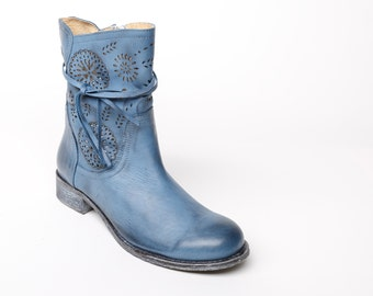 Leather women's ankle BOOTS, blue leather BOOTIES, floral decorated booties color blue, laser cut leather, blue women's SHOES, gift idea