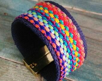 Multicolored braided fabric cuff
