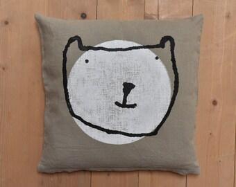 LINEN pillow case with polar bear, handmade block print