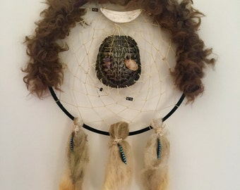 Traditional Turtle Shell Dream Catcher with Blue Jay Feathers, Amethyst, Citrine, Buffalo Hide, and Buffalo Bone