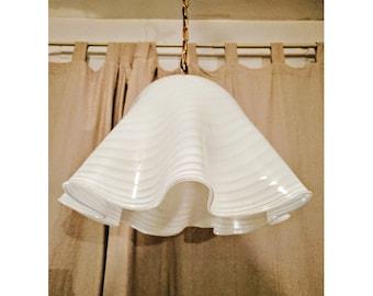 VINTAGE elegant lamp suspended in textured glass - lamp Italian white