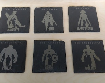 Marvel Avengers slate coasters and wood box