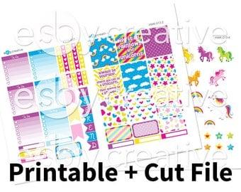 Sale - 25% Off! Rainbows + Unicorns Theme - Weekly Sticker Kit Printable for Erin Condren Horizontal - HWK-013 - INSTANT DOWNLOAD