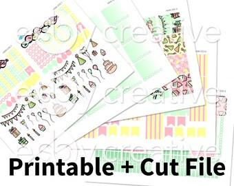 Sale - 25% Off! Birthday Theme - Weekly Sticker Kit Printable for Erin Condren Horizontal - HWK-033 - INSTANT DOWNLOAD
