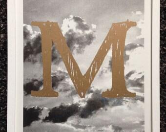 Typo Photo Letter M   Fine Art Riso Poster Risography Print Typo Photography ABC Type Handmade Love  Fancy Custom Gold metallic Design