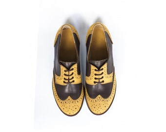 Rita H.-Brown & Ochre color- Derby shoes- Brogues- ladies shoes-Leather-Handmade-Flat shoes-tie shoes-vintage shoes-womens shoes-mens shoes