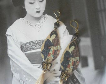 Loop Japanese geisha retro nomadic ethnic earrings