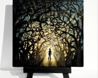Boy walking into the forest - silhouette art - miniature original painting on wood