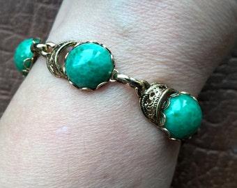 Vintage Peking Glass Jade Gold Finish Filigree Bracelet