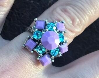 Vintage Silver Color Metal Purple Blue Glass Plastic Paste Star Dimensionless Ring