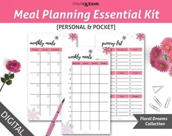 Menu Planning Kit, Personal Planner Refills, Meal Plan Printable, Kitchen Organization, Menu Planner, Weekly Meal Planner, Filofax Pocket