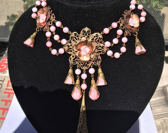 Czech glass Pink and White floral Swag necklace