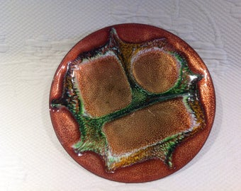 Plate Jules Perrier signed - enamel and copper - Quebec artist - mid century collectible plate / / made in Quebec