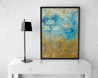Abstract print giclee, Large high quality fine art print gicle of original abstract painting by Eveline Patrzalek blue gold yellow