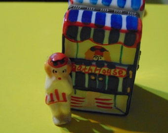 Bathing Beauty  inside and in front of her cabana trinket box