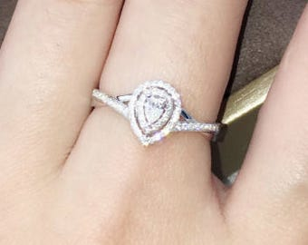 0.5 carat Pear Shape Forever Brilliant Moissanite Engagement ring in Halo Style with natural diamonds, Diamond Alternative engagement ring