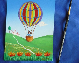 balloon-small landscape painting naive children's room happy gift idea