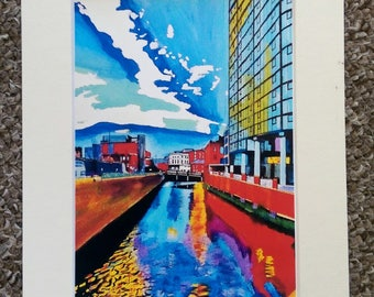 """Limited edition print - River Don, lady's Bridge from Blonk Street - A3, A4 or 7"""" x 5"""" Print of an Original Painting by Bryan John"""
