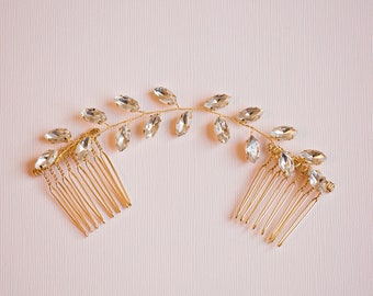 Bridal hair comb, Gold hair vine, Crystal leaf hair Vine, Leaf Hair Vine, Gold leaf hair vine, Gold hair comb, RosyroseStudio