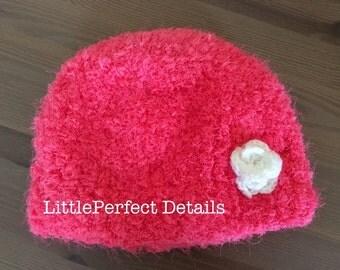 Soft Fluffy Pink Hat, Girls Fluffy Hat