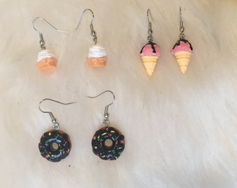 Vanilla Soft Serve, Strawberry Ice Cream Cone, and Chocolate Donut Dangle Earrings
