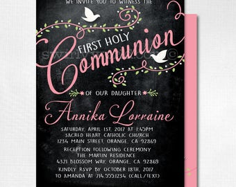Girls 1st Holy Communion Invitations, Vintage 1st Holy Communion Invitations for Girls, Pink First Holy Communion Invites with Photo