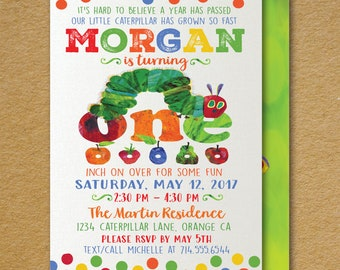 Vintage Very Hungry Little Caterpillar 1st Birthday Invitations, Hungry Caterpillar Theme Birthday, Caterpillar 1st Birthday Design, DI-396