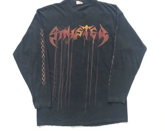 1999 Sinister vintage band long sleeve T-shirt - L - Bolt Thrower, Obituary, Carcass, Deicide, napalm Death, entombed, Morbid Angel