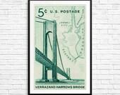Large poster art: Verrazano-Narrows Bridge, New York, New York City, Brooklyn, Manhattan, Staten Island, New Jersey, bridge posters, NYC